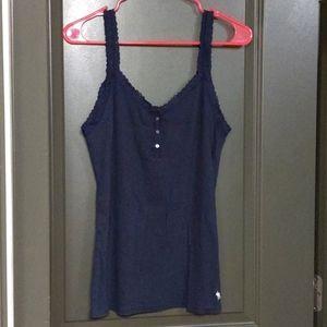 🛍️A&F Navy Blue Rib Knit Lace Tank XL